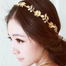 2016 Hot Sell Gold Plated Flower & Leaves Elastic Headbands, Women Fashion Jewelry Bridal Headdress Stage Wedding Accessories