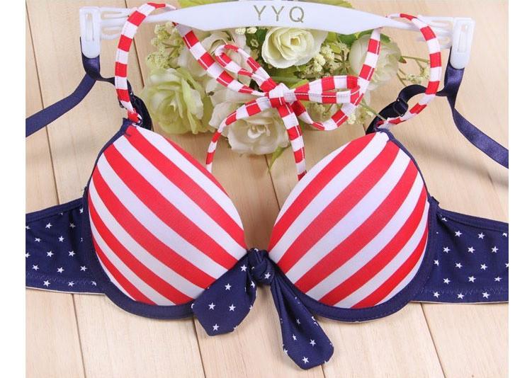 Navy style sweet corset adjustable stripe bikini lingerie bra set 07
