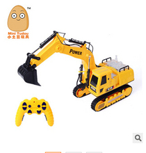 Free shipping Children's kids Toys&Christmas gifts& Excavator + Bulldozer &Wireless remote control truck channel flash+music(China (Mainland))