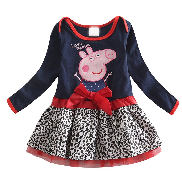 New summer autumn baby girl clothes minions girls dress leopard long-sleeved dresses christmas elsa party dress girl clothing(China (Mainland))