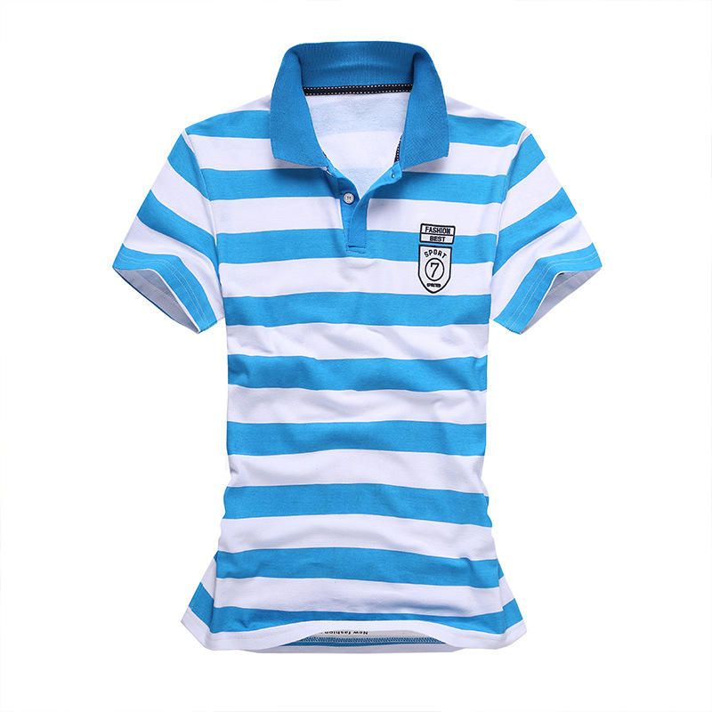 Comfortable summer men striped polo shirt british style for Mens short sleeve patterned shirts