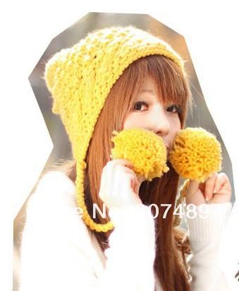 ladies''s fashion fur ball Leisure Knitted hat Beanie Cap earmuff Autumn Spring Winter multi colors wholesale(China (Mainland))