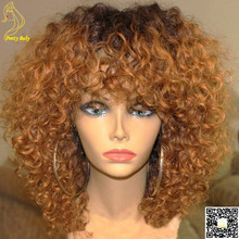 Honey Blonde Ombre Full Lace Human Hair Wigs Glueless Virgin Peruvian Kinky Curly Remy Hair Lace Front Wig Two Tone Color  1b/30(China (Mainland))