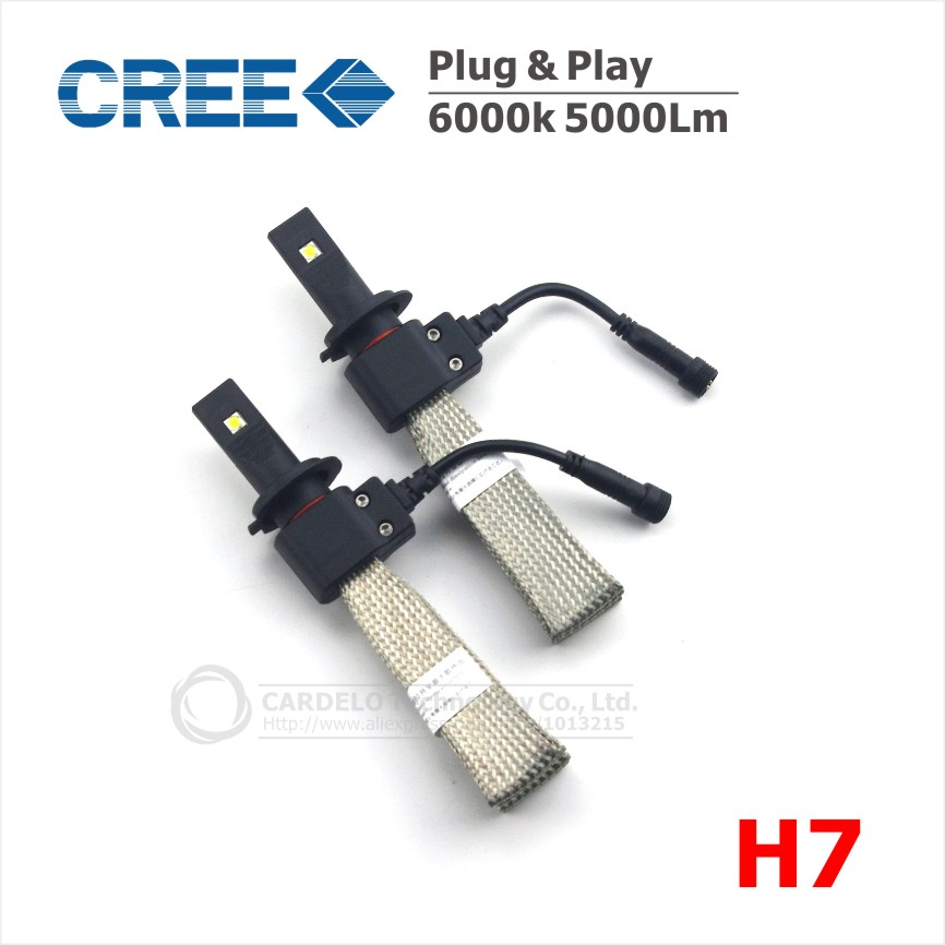 2x H7 40W 5000LM CREE LED Car Auto Headlight Light Bulb 6500K Fog Lamp 12V Fanless Car Light Sourcing Easy Install All In One(China (Mainland))