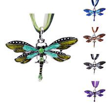 2016 Fashion Antique Dragonfly Crystal Pendant Necklace Women Jewelry Enamel Rhinestone Necklace(China (Mainland))