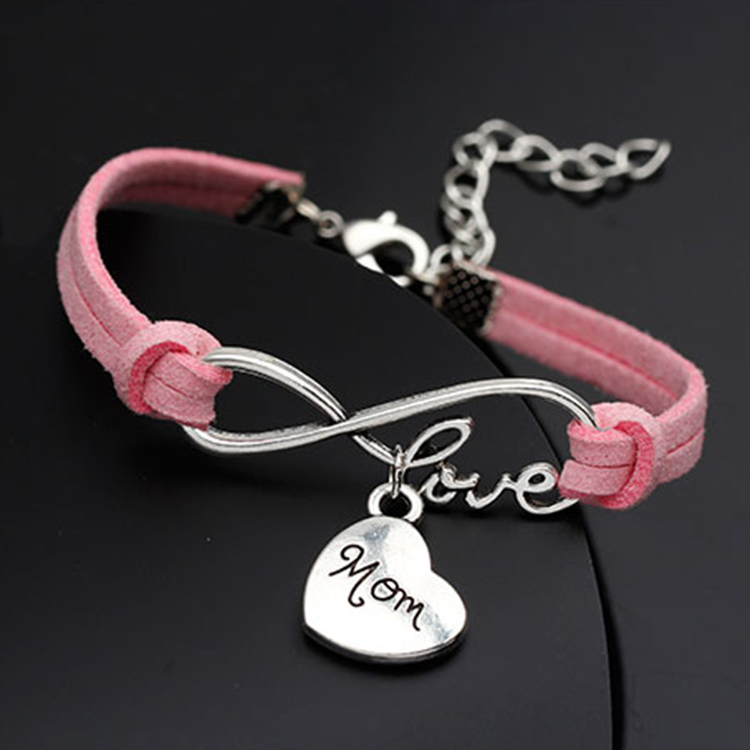 """New fashion hot selling """"mom"""" for mother's day gift & Bangles woman fashion Jewelry Handmade Wristband Leather Charms bracelets(China (Mainland))"""