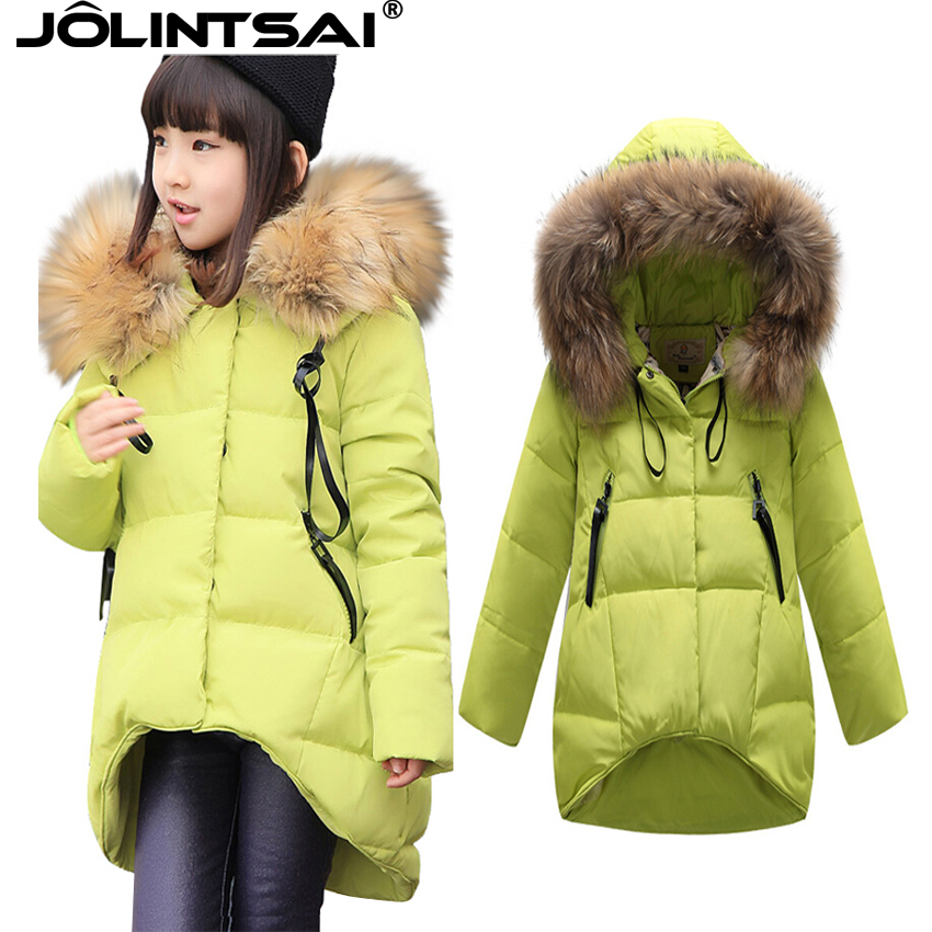 2016New Parka Girls Coat Long Big Fur Collar Winter Jacket Kids Coats Jackets Children Outerwear - Fashion Watch$Beads store