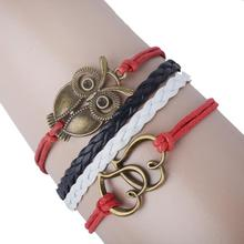 Fashion Unisex Jewelry Retro Vintage Style Double Heart Owl Multilayer Leather Bracelet Factory Price Wholesales