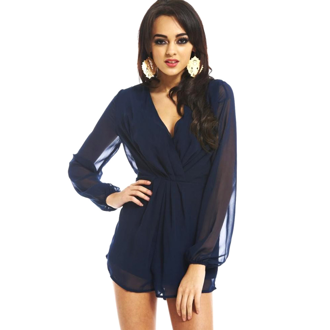 M-XXL Size Rompers Womens Jumpsuit Long Sleeve Deep V Neck ...