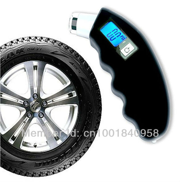 Free shipping Portable LCD Digital Tire Pressure Gauge tester for Any tire safety with Taillight