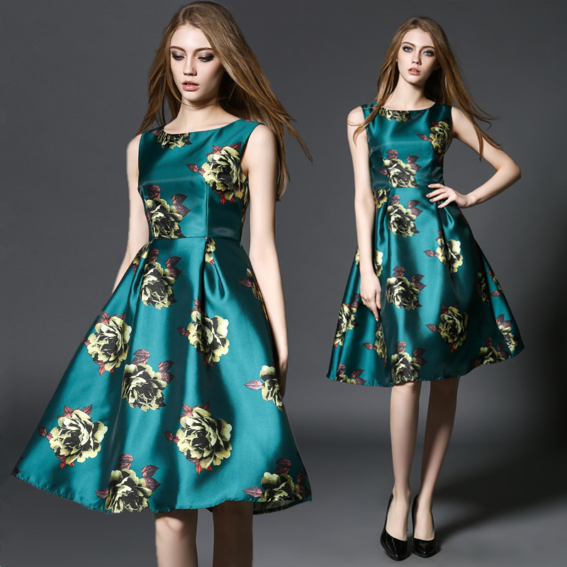 D325D  T155# The new spring and summer 2016 Europe rose floral sleeveless dress slim AОдежда и ак�е��уары<br><br><br>Aliexpress