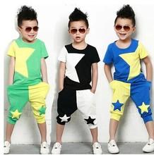 2017NEW дети комплект одежды звезды мальчиков установить комплекты младенцам короткий майка + брюки 2 шт. комплект одежды детей костюм 2-7лет(China (Mainland))