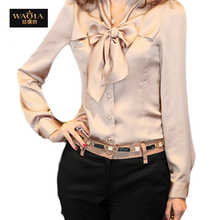 Korean Fashion Plus Size Women Blouses 2015 New Arrival Bow Ties Full Sleeve Blusas Solid Slim Women Shirt Three Colors Blouse(China (Mainland))