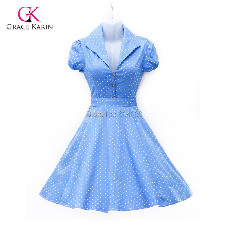 2015 Women Summer style Dress Cotton Polka Dots 40s 60s Vintage Retro 50s Rockabilly Dress Swing Pinup vestidos Party Dress 6089(Hong Kong)