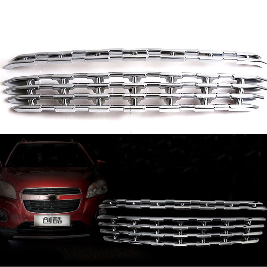 2PC/set  Grill Grille Chromed ABS Plastic Front Center Cover Trim Fit For Chevrolet TRAX 2014 Car Set<br><br>Aliexpress