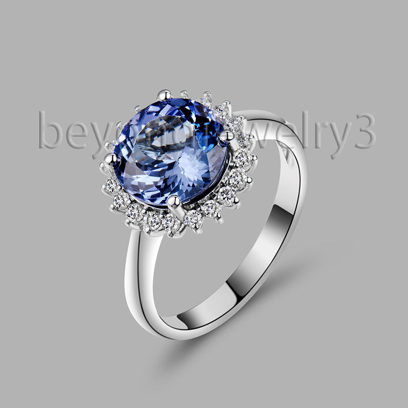 Natural AAA Diamond Tanzanite Ring Solid 18Kt White Gold Tanzanite Engagement Ring Round 7mm Tanzanite Jewelry WU220<br><br>Aliexpress