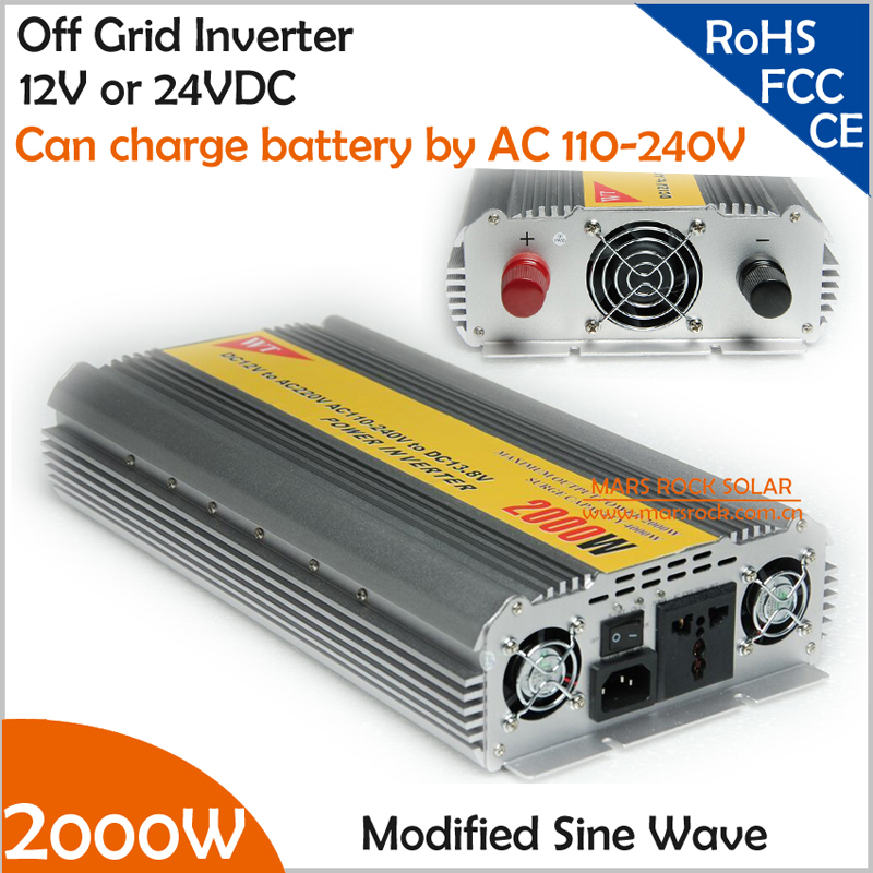 2000W modified inverter with wide AC110V- 240V grid charger for battery, 12V or 24V DC to AC 110V or 220V off grid inverter(China (Mainland))