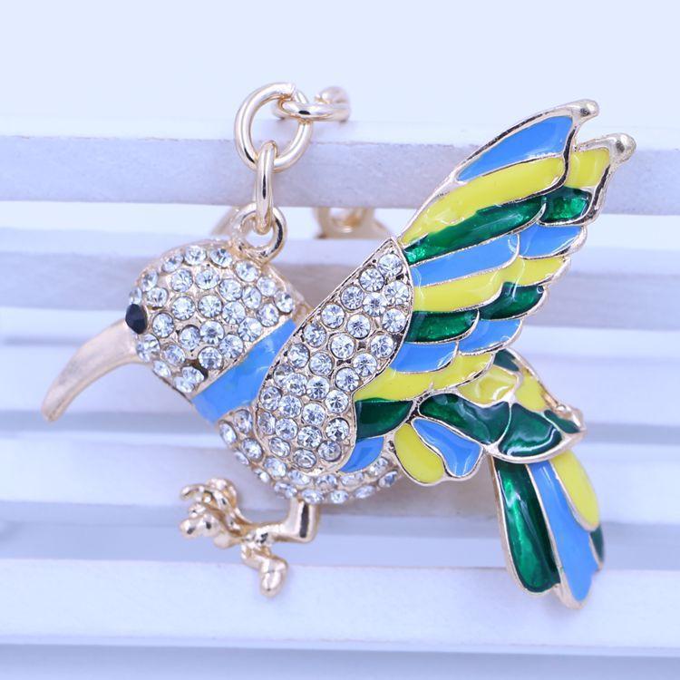 Novo 2015 free shipping fashion charm of the green bird key chain metal key button car gift charm Rhinestone bag accessories(China (Mainland))