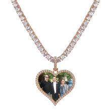 Topgrillz feito sob encomenda foto coração medalhões colar & pingente com 4mm corrente de tênis aaa zircão cúbico masculino hip hop jóias(China)