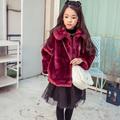 Kids 2016 Autumn winter girl furry coat Children clothing Girl Faux Fur Jacket Coat