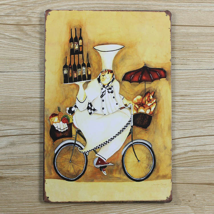 "HOT SALES ""The cook and the beer""Tin plate signs movie poster Art Cafe Bar Vintage Metal Painting wall stickers home decor(China (Mainland))"