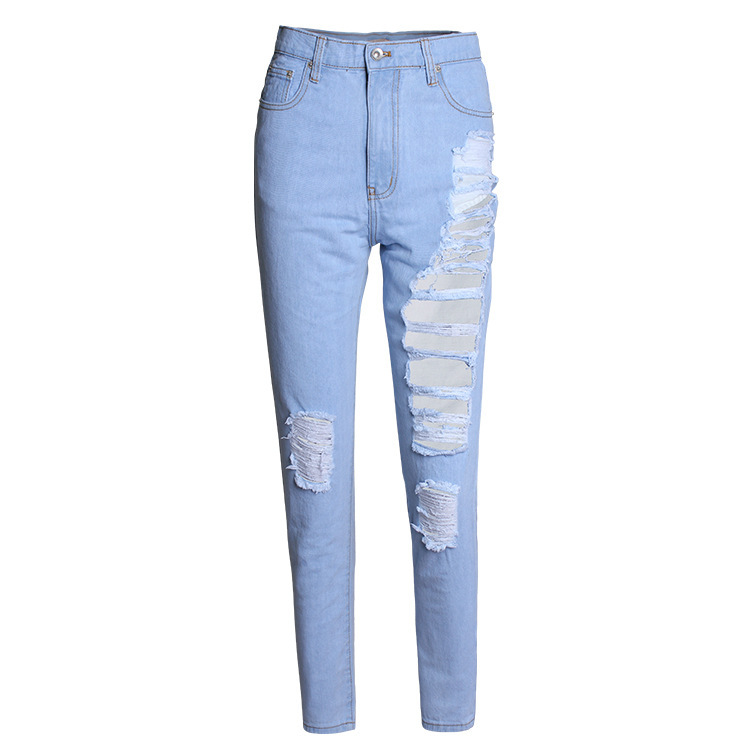 Women's Super Distressed Denim Jeans light blue Girls streetwear Loose straight pants - Oceano Welink Store store
