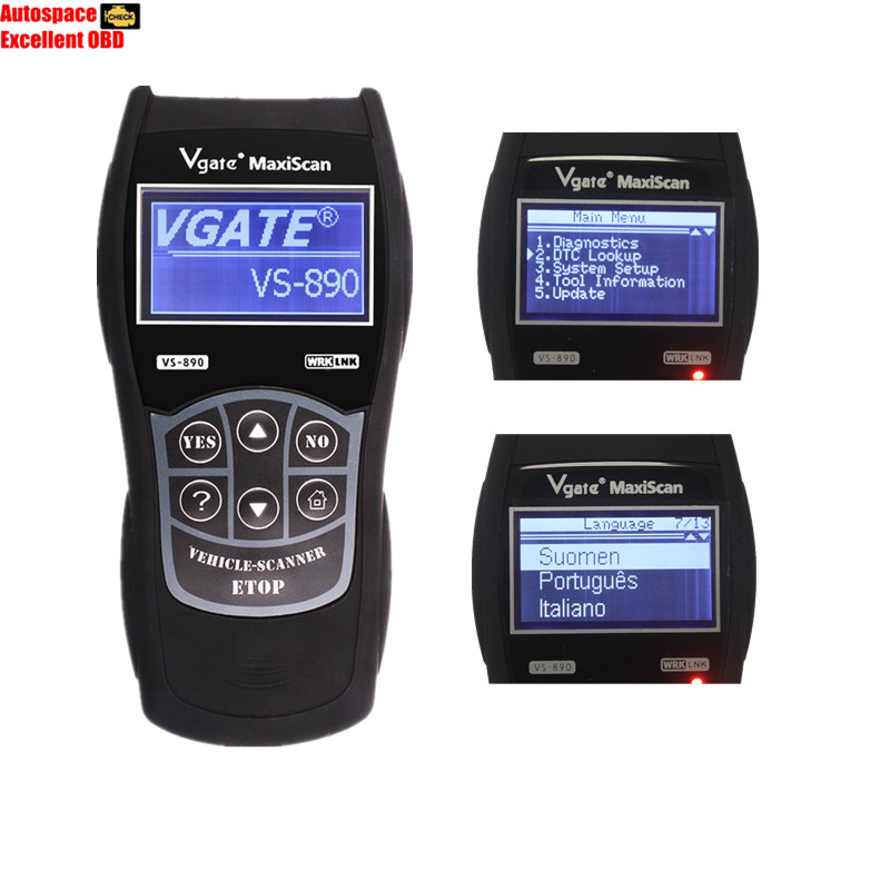 VGATE VS890 OBD2 Code Reader Universal OBD2 Scanner Multi-language and Car Diagnostic Tool Vgate MaxiScan VS890 Free Shipping(China (Mainland))