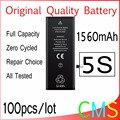 100pcs/lot Original Quality 0 zero cycle Battery for iPhone 5S 1560mAh 3.7V Replacement Repair Parts