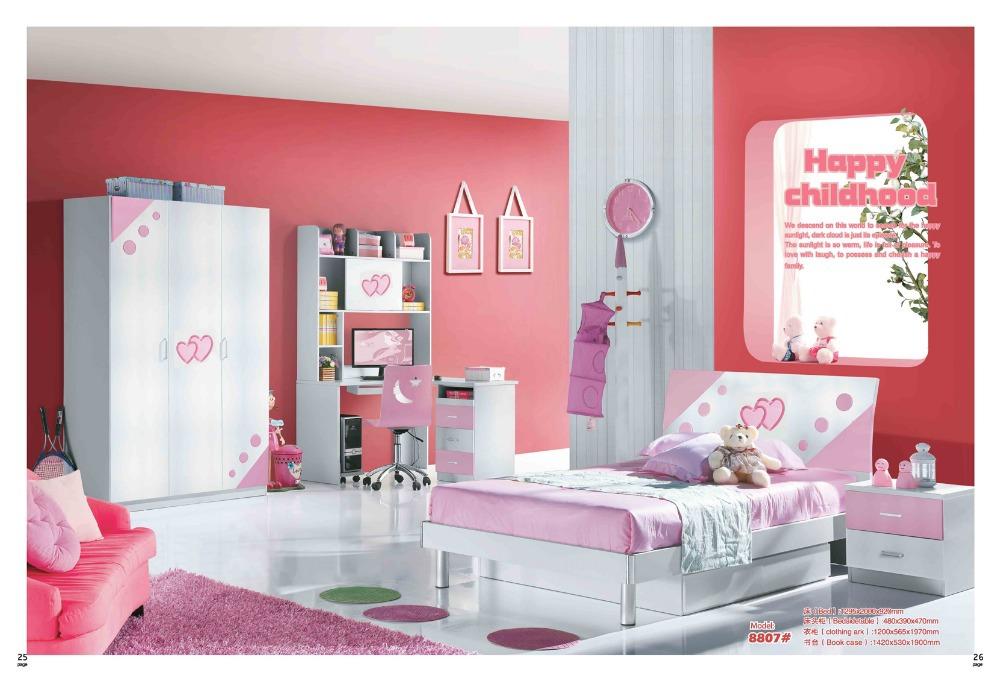 Pink Girl Furniture, Children Bedroom Furniture, bed, desk, wardrobe, and bookshelf set wood furniture MYL8807(China (Mainland))