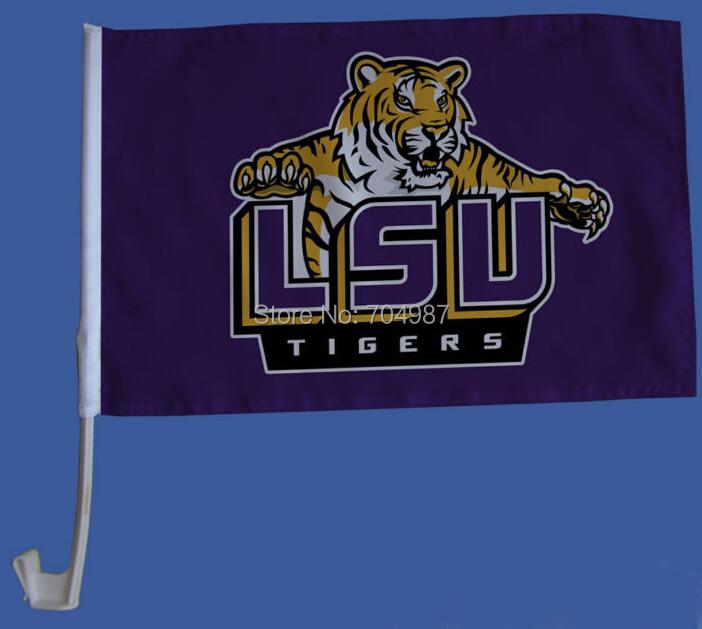 30 x 45 cm NCAA LSU Tigers purple car window flag banner bandera free shipping(China (Mainland))