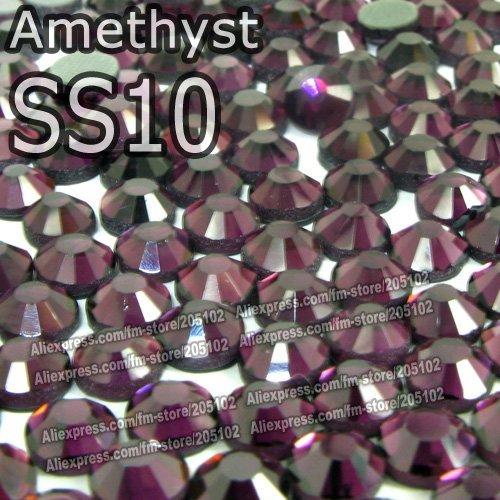 SS10 2.7-2.8mm,1440pcs/Bag Amethyst DMC Hot Fix FlatBack Rhinestones,heat transfer DIY hot iron-on garment purple crystal stones
