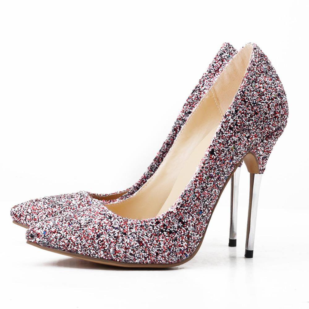 fashionable muliti color sequined cloth pionted toe