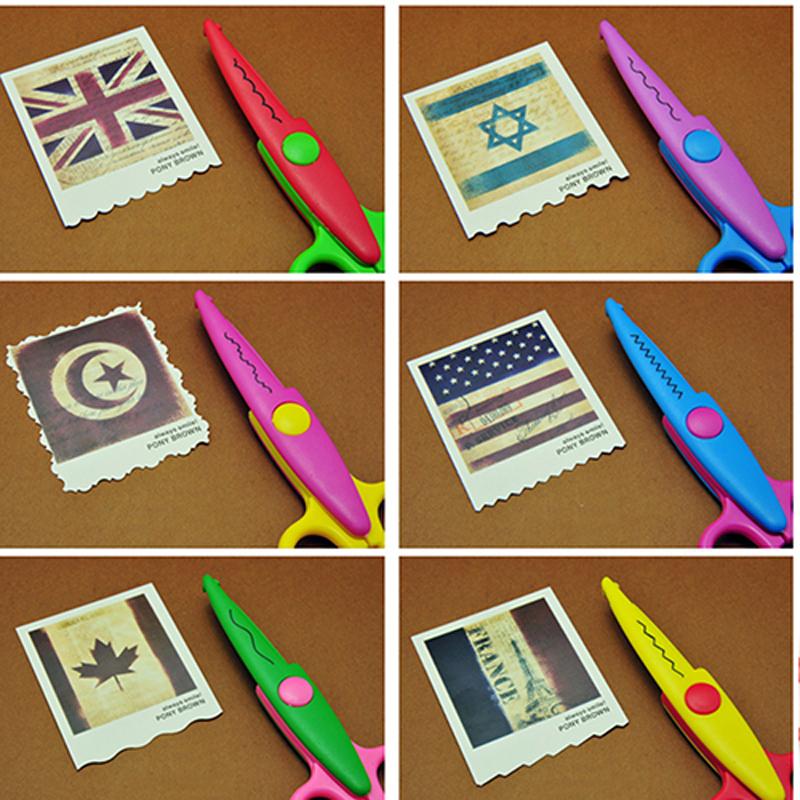 6pc/lot Children Kids Paper Craft Scissors 6 Cutting Patterns Curved Edges DIY Decorative Scissor For Scrapbook Album Photos(China (Mainland))