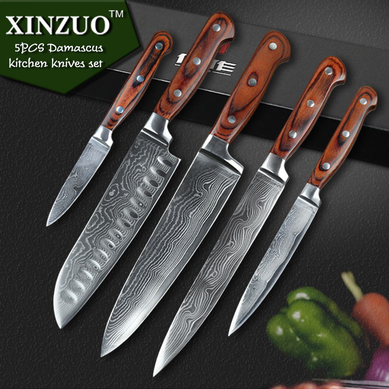 high quality 5 pcs kitchen knife vg10 damascus stainless high quality kitchen knife in kitchen knives from home