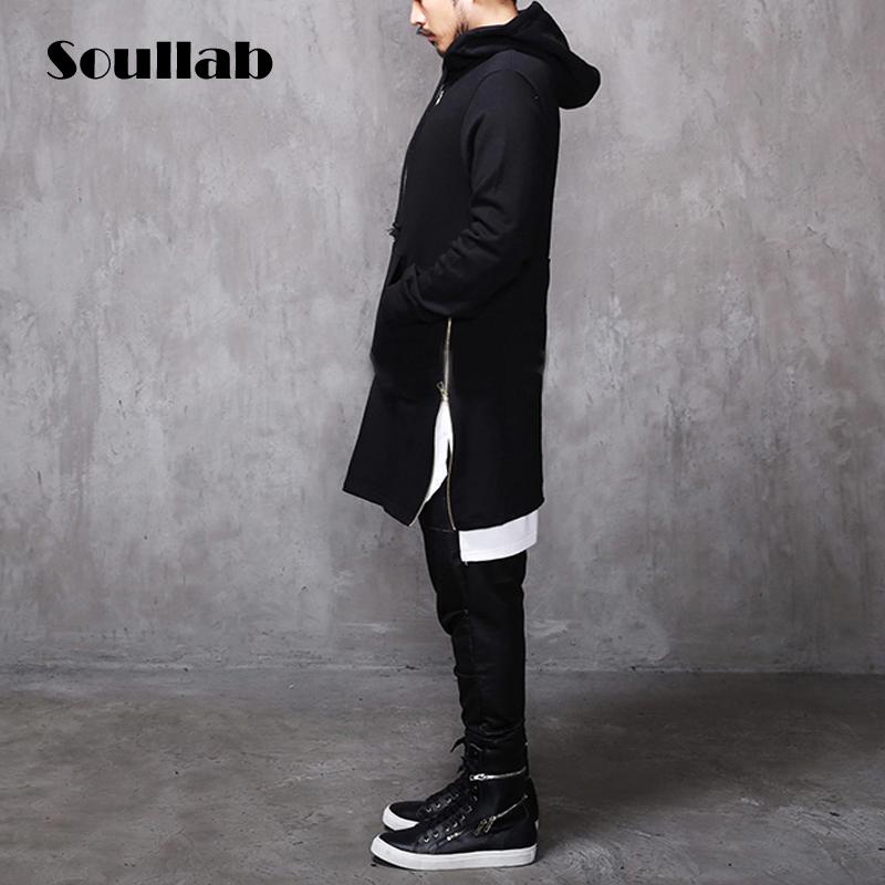 Long Black/White Side Zipper Man Hiphop Hip Hop Sweatshirt Hoodies 2015 Fashion Streetwear Men Women Swag Clothes Clothing(China (Mainland))
