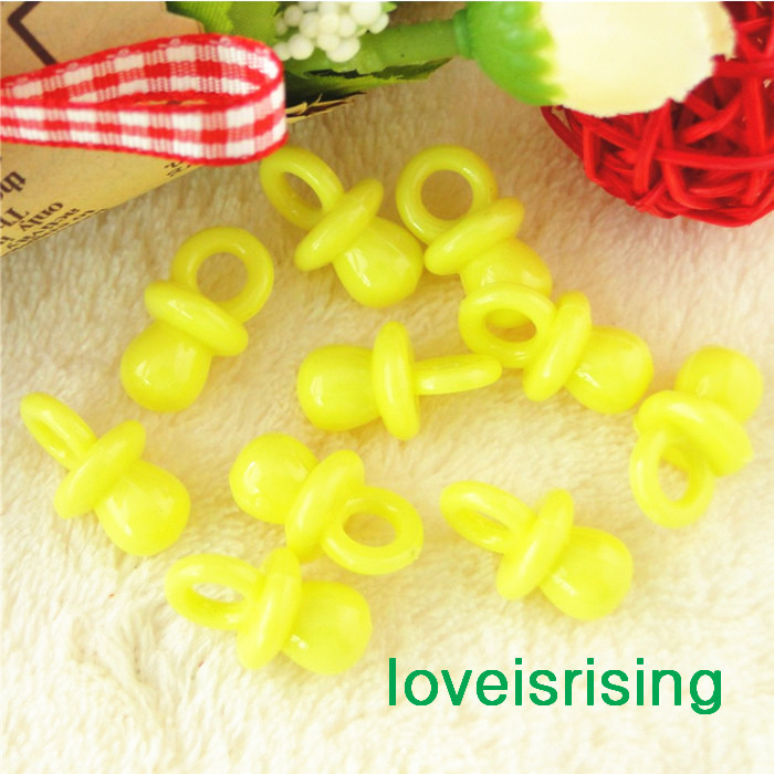 New Arrival-200pcs Mini Size 22mm*11mm Acrylic Solid Yellow Baby Pacifier For Baby Shower Favors~Cute Charms~Party Decorations(China (Mainland))