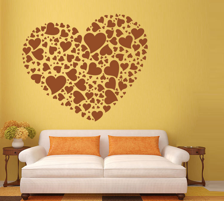 Romantic Home Decor,Mural Decals of Cozy beautiful hearts shape,for personality bedroom and living room Wall Stickers
