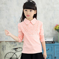 Girls Blouses Shirts New 2016 Fashion Solid Turn Down Lace Flower Blouses Children Girls Cotton Clothes