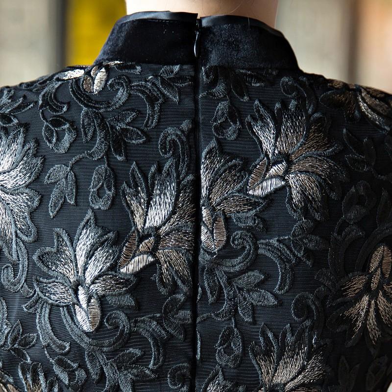 สีดำของผู้หญิงCheongsamจีนแฟชั่นสไตล์ยาวชุดที่สง่างามบางพิมพ์QipaoขนาดSml XL XXL XXXL F090903 ถูก