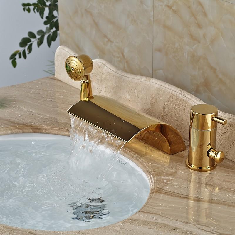 Купить Современная Широкое Bathtoom Ванной Смесители Deck Mount 3 Отверстия Латунь Золотой Ванной Кран