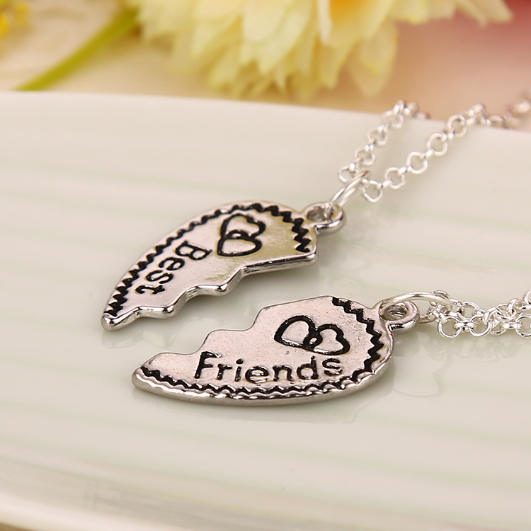 2 Parts Broken Hearts One Set Best Friends Alloy Pendant Necklace New Fashion 2015 Jewelry 12 sets/lot(China (Mainland))