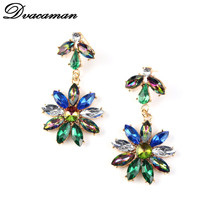 Exclusive Fashion Jewelry For Women 2015 Charm Accessories Vintage Earring Multicolor Resins Flower Stud Earrings 102(China (Mainland))