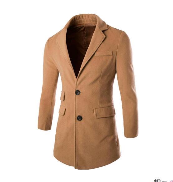 Hot-selling spring turn-down collar multi-pocket medium-long wool coat men slim solid color fashion trench coat men clothing