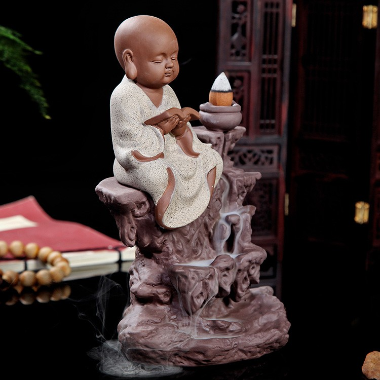 TOP BEST business gift # Spiritual ART# HOME OFFICE CHAN DAO Little Monk  sand-fired porcelain pottery Aroma Burner ART - us249