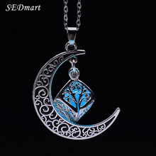 SEDmart Hollow Crescent Moon Magic Cube Fairy Locket Glow In The Dark Pendant Necklace Luminous Glowing Stone Statement Necklace(China (Mainland))