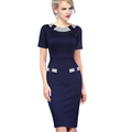 2016 Summer Style Womens Elegant Vintage Pinup Colorblock Contrast Party Prom Fitted Sheath Pencil Dress Fast