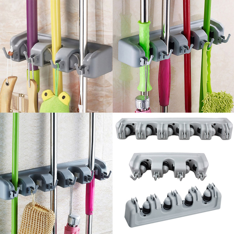 Popular Kitchen Wall Mounted Hanger Storage Rack 3-5 Position Kitchen Mop Brush Broom Organizer Holder Tool(China (Mainland))