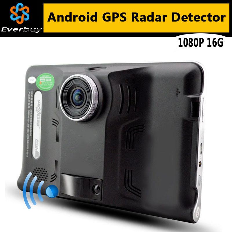 New 7 inch HD Android GPS Navigation Anti Radar Detector Car DVR 1080P Camera Recorder Truck vehicle gps Free map tablet pc 16GB(China (Mainland))