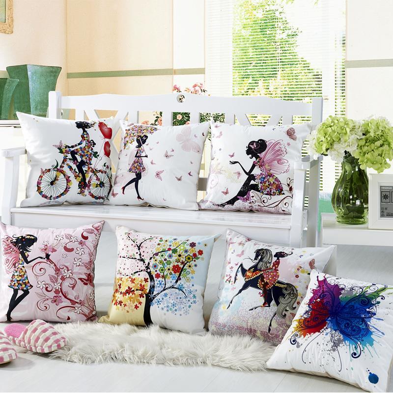 RUBI almofadas decorative cushion cover digital printing flower fairy bike butterfly 45x45cm off 10%(China (Mainland))