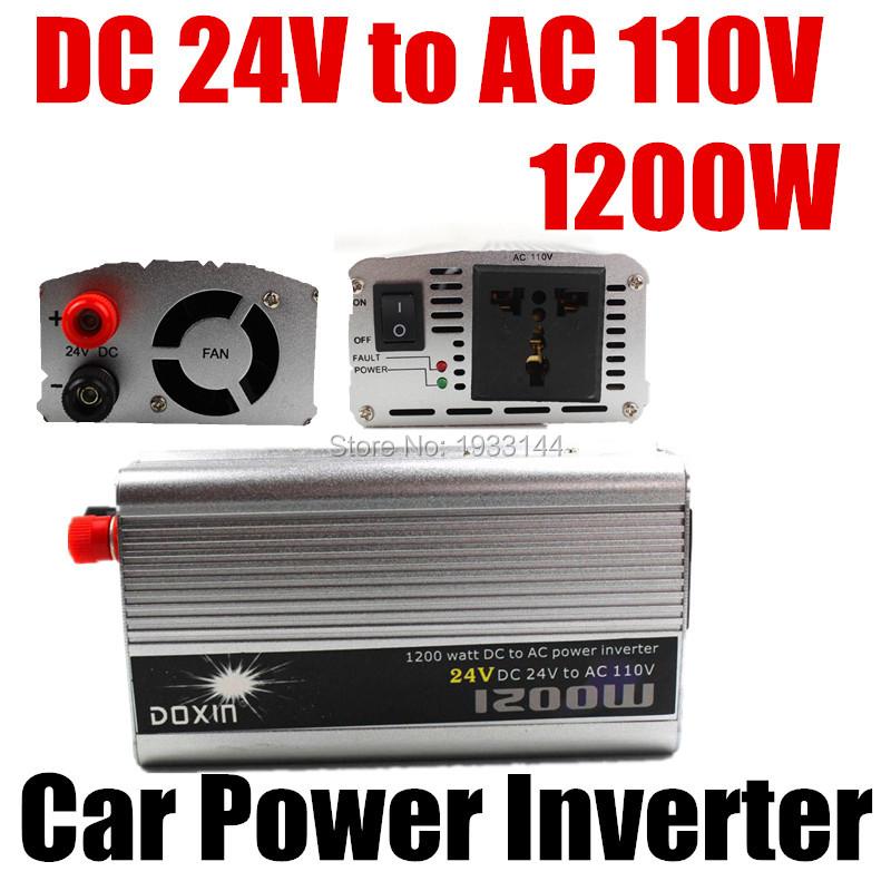 Portable Car Charger 1200W WATT DC 24V to AC 110V 50 Hz Car Bus Auto Voltage Power Inverter Converter Transformer Power Supply(China (Mainland))